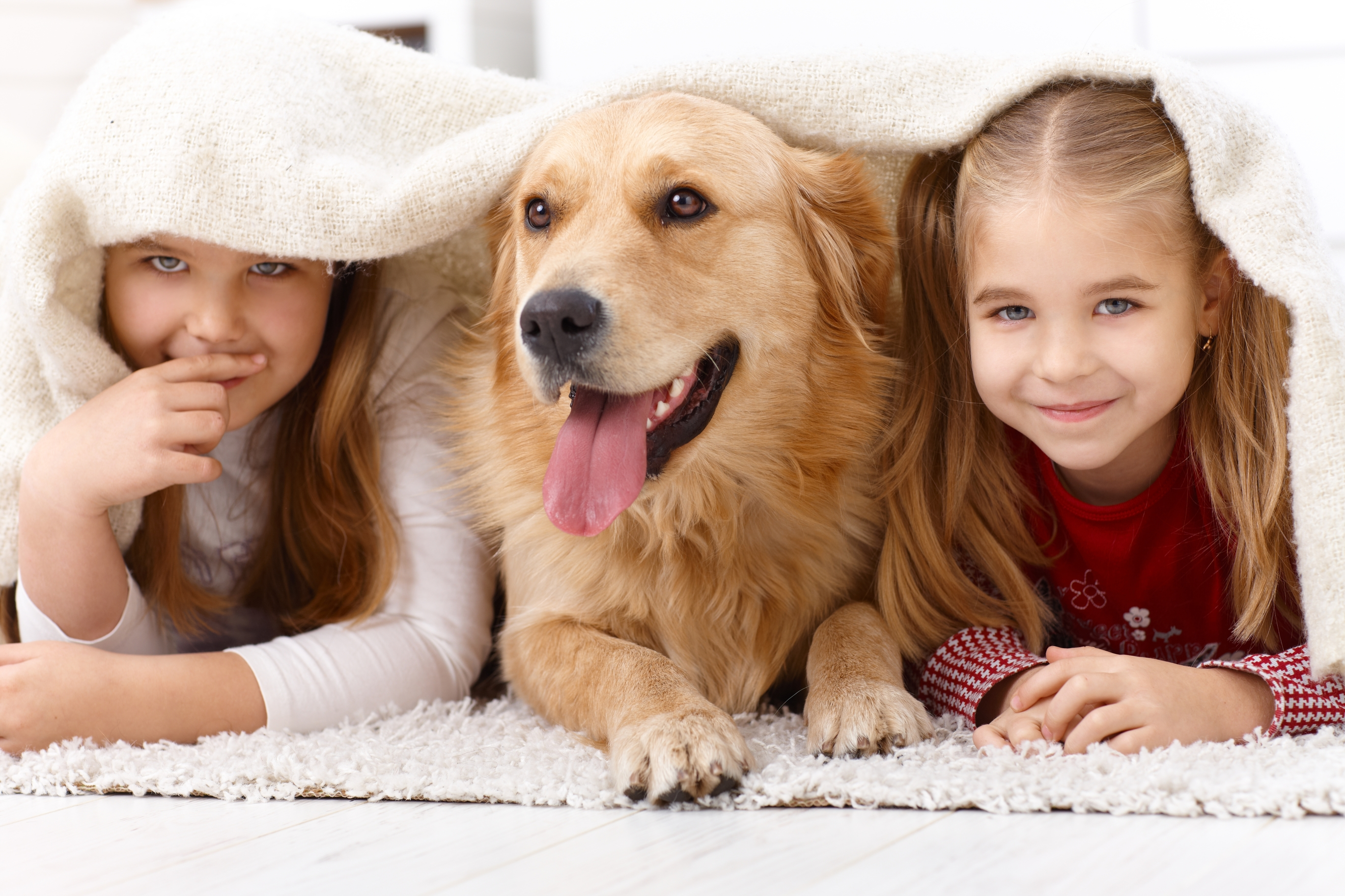 two girls and a brown dog covering in a white blanket